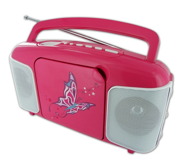 CD41 Radio and CD Player (Pink + butterfly) - Packshot