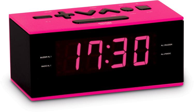 dual alarm clock radio pink bigben us bigben audio gaming smartphone tablet. Black Bedroom Furniture Sets. Home Design Ideas