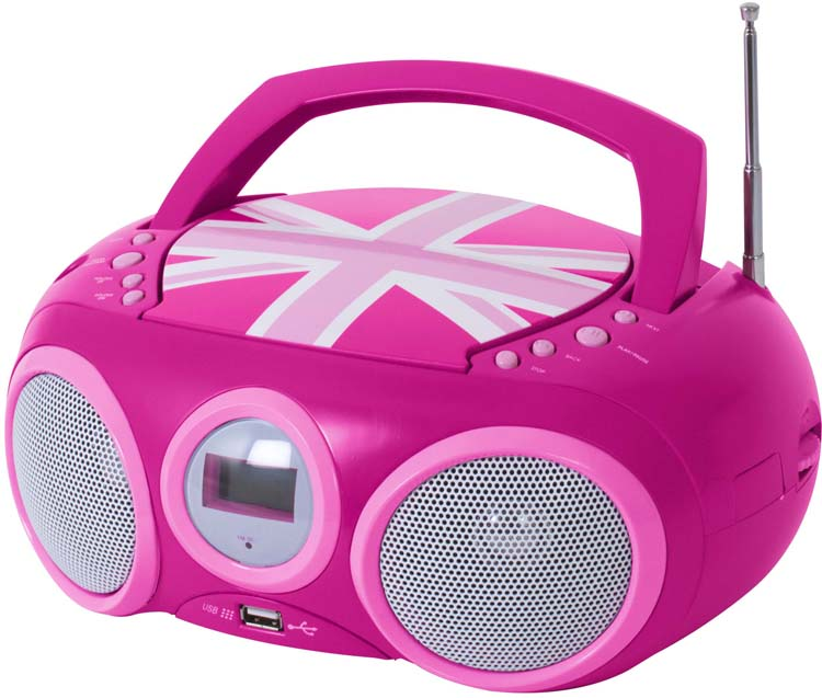 radio cd player with usb port union jack pink bigben. Black Bedroom Furniture Sets. Home Design Ideas