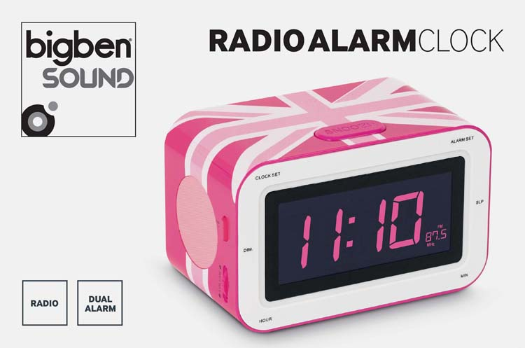 alarm clock radio union jack pink bigben us bigben audio gaming smartphone tablet. Black Bedroom Furniture Sets. Home Design Ideas