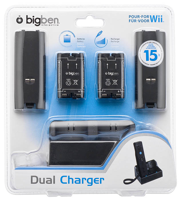 Dual charger for wii black bigben us bigben audio for Wii u tablet charger