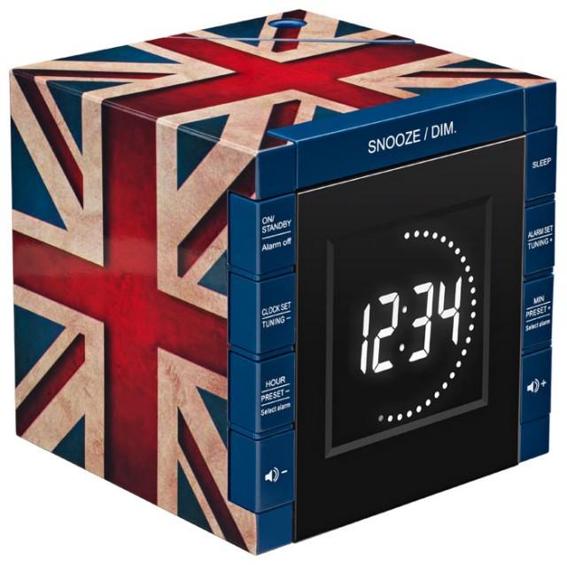 """Radio Alarm Clock Projector """"Union Jack"""" - Packshot"""