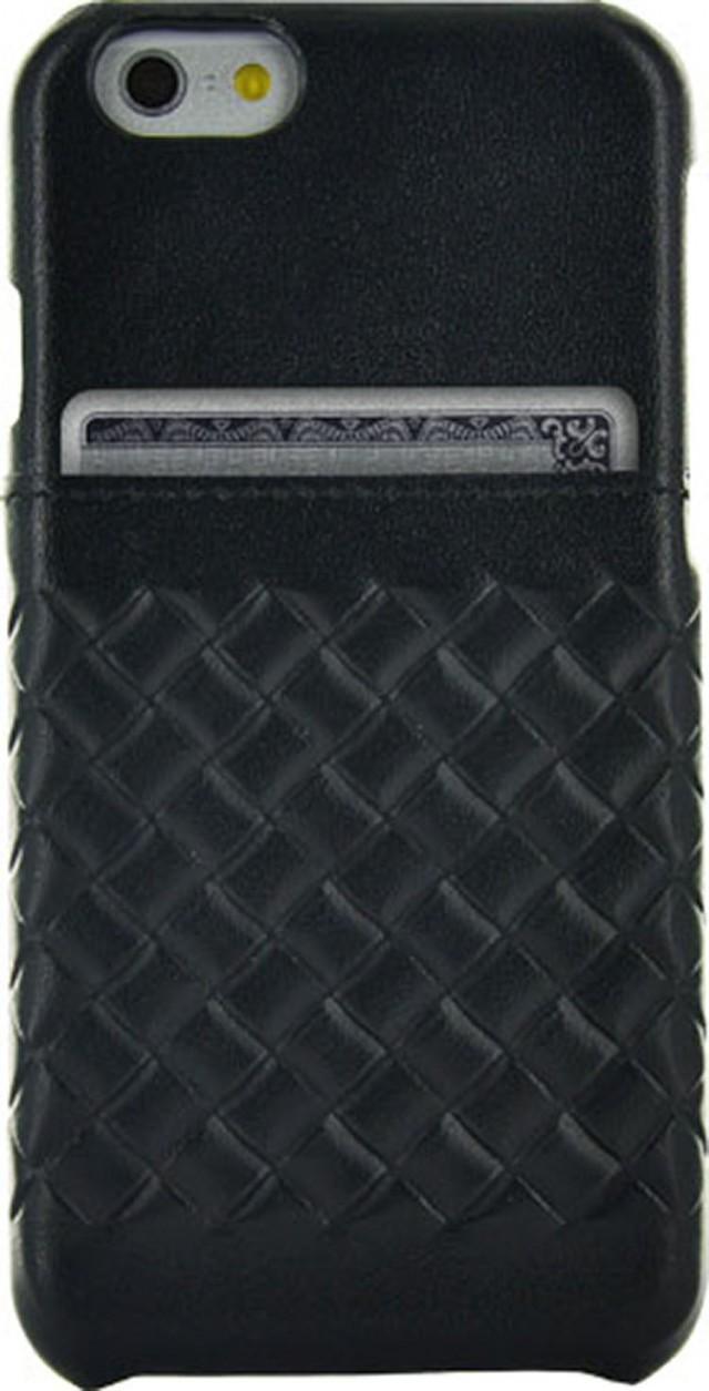 Hard Case with integrated card-holder 'Leather' (Black) - Packshot