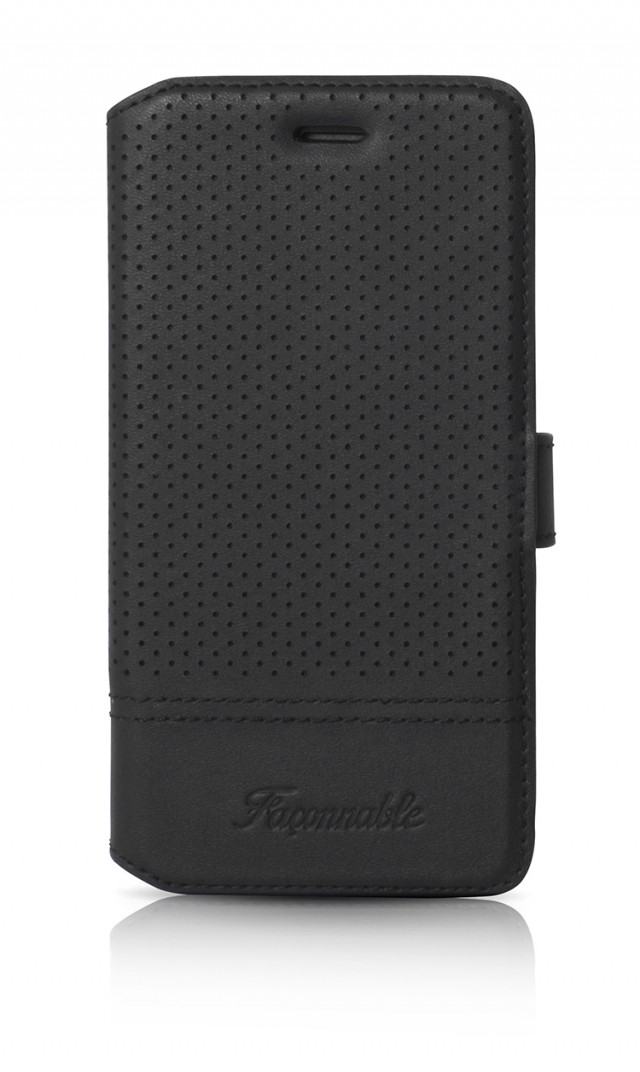 FACONNABLE Folio Case 'Perforated' (Black) - Packshot